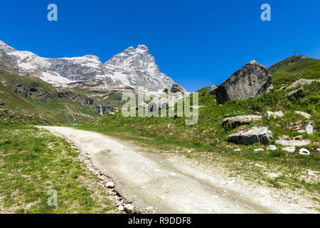 The Matterhorn (Cervino) viewed from the Italian side in a beautiful summer day, Breuil-Cervinia, Aosta Valley, Italy - Stock Photo