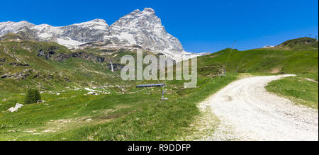 Panoramic view of the Matterhorn (Cervino) in a beautiful summer day, Breuil-Cervinia, Aosta Valley, Italy - Stock Photo