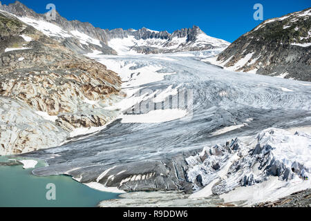Rhone Glacier is melting due to global warming and climate change, Valais, Switzerland - Stock Photo