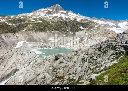 Landscape of Rhone Glacier, which is significantly retreated in the last two centuries due to climate change, Valais, Switzerland - Stock Photo
