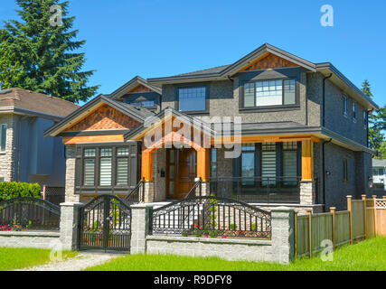 Brand new luxury family house in suburbs of Vancouver, Canada. - Stock Photo