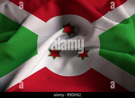 Closeup of Ruffled Burundi Flag, Burundi Flag Blowing in Wind - Stock Photo
