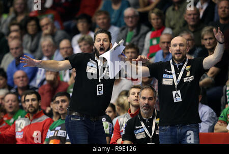 Magdeburg, Germany. 23rd Dec, 2018. Handball: Bundesliga, SC Magdeburg - Füchse Berlin, 18th matchday. Magdeburg coach Bennet Wiegert (l) and his assistant Yves Grafenhorst (r) react. Credit: Ronny Hartmann/dpa-Zentralbild/dpa/Alamy Live News - Stock Photo
