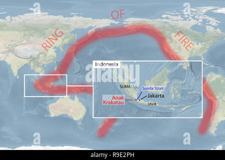 World. 23rd Dec, 2018. World map shows Pacific 'Ring of Fire', Anak Krakatau volcano and Sunda Strait in Indonesia (image for illustrative purposes only). A tsunami hit coastal towns on Indonesia's islands of Sumatra and Java following an underwater landslide believed caused by the erupting Anak Krakatau volcano in Sunda Strait. Credit: Andre M. Chang/ARDUOPRESS/Alamy Live News - Stock Photo