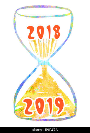 Sand clock is 2018-2019 year. New Year's illustration. - Stock Photo
