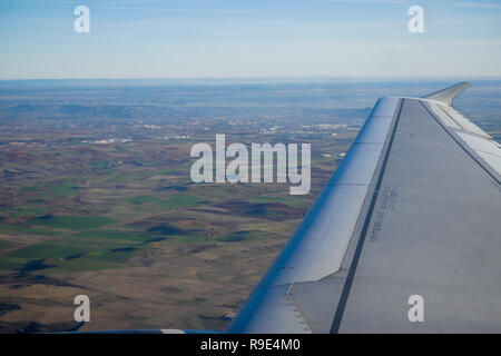 Airplane flight over Spain - Stock Photo