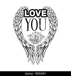 Love You Sketch Vector Color Illustration. Hand Drawn Angel Wings.. Royalty  Free Cliparts, Vectors, And Stock Illustration. Image 126548082.