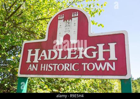 'Hadleigh an historic town' sign, Hadleigh, Suffolk, England, United Kingdom - Stock Photo
