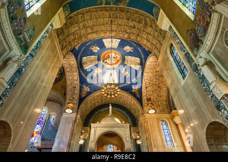 Interior of the Basilica of the National Shrine of the Immaculate Conception, Washington DC, USA. - Stock Photo