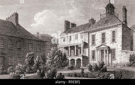 Surgeon's Square in 1829; Edinburgh, Scotland, 19th century, Views in Edinburgh by J. & H. S. Storer - Stock Photo