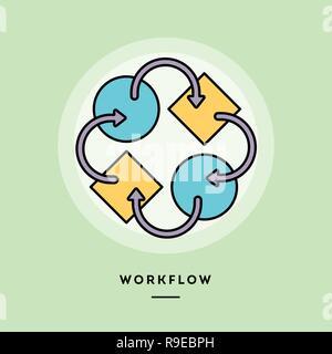 Workflow, flat design thin line banner. - Stock Photo