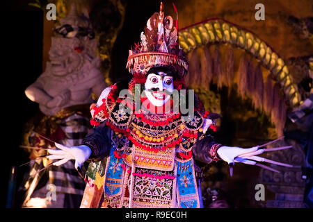 UBUD, BALI, INDONESIA - APRIL, 19: Legong traditional Balinese dance in Ubud, Bali, Indonesia on April, 19, 2018 - Stock Photo