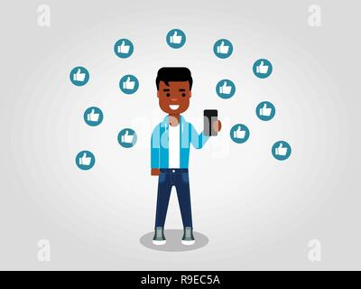 A happy young African American looking at his mobile phone, surrounded by the thumbs up signs. Having support concept. Vector illustration, flat style - Stock Photo