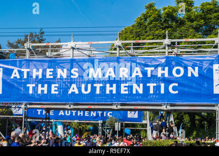 Athens, Greece 11th November, 2018: 36th Athens Classic Marathon in Greece - Stock Photo