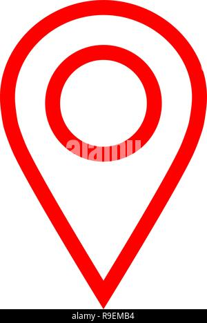 Pin point - red simple outlined, isolated - vector illustration - Stock Photo