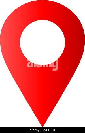 Pin point - red gradient hollow, isolated - vector illustration - Stock Photo