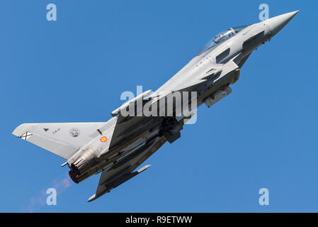 An Eurofighter Typhoon multirole fighter jet of the Spanish Air Force. - Stock Photo