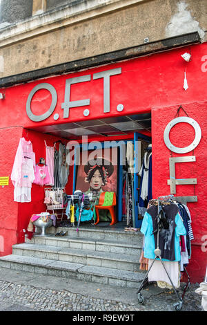 O.F.T. Ohne Frage toll, Without Question Great. Vintage shop sells clothing, furniture, lamps & accessories from the 60s and 70s. - Stock Photo