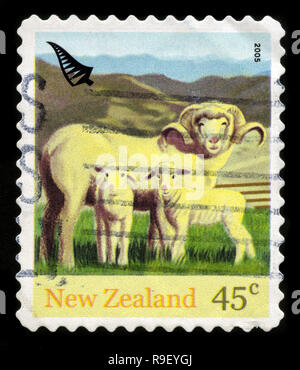 Postage stamp from New Zealand in the Farmyard Animals and Chinese New Year (Year of the Rooster) series issued in 2005 - Stock Photo