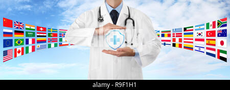 international travel medical insurance concept, doctor's hands protect an shield cross icon, on blue sky background with flags, web banner template wi - Stock Photo