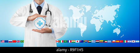 international travel medical insurance concept, doctor's hands protect an shield cross icon, isolated on blue background with world map and flags, web - Stock Photo