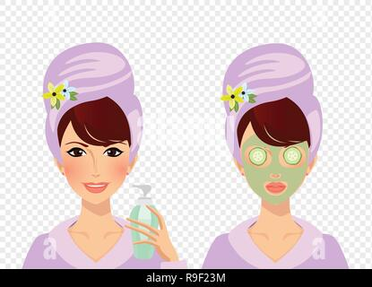 Vector set of girl character with towel turban on head and bathrobe before and after spa cosmetic skincare procedures. Woman puts cream on face and la - Stock Photo
