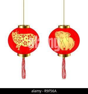 Chinese New Year. Two red round Chinese lanterns with a pig and piglet pattern. illustration - Stock Photo