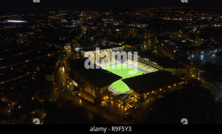 Molineux the home stadium of Wolverhampton Wanderers aerial view at night Stock Photo