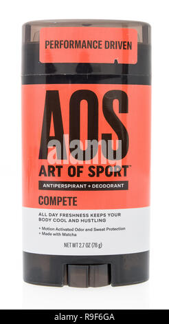 Winneconne, WI - 21 December 2018:  A stick of deodorant by AOS art of sport antiperspirant deodorant on an isolated background. - Stock Photo