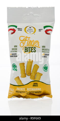 Winneconne, WI - 21 December 2018:  A package of Terre di puglia finger bites from Italy on an isolated background. - Stock Photo