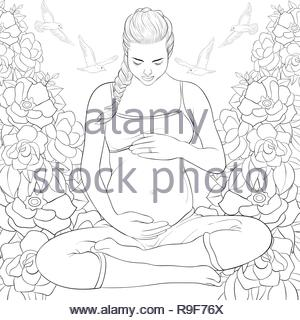 A cute pregnant woman on the background with flowers and birds image for relaxing activity.Line art style illustration for print.A coloring book,page  - Stock Photo