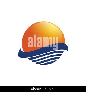 Sun over sea waves. Sun and sea. Sun logo icon isolated on white background. Editable vector illustration - Stock Photo