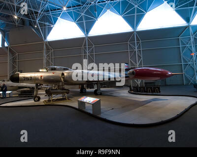 Berlin, Germany - June 19, 2018: Museum of aviation. Exhibition of aircraft exhibits in the museum. - Stock Photo