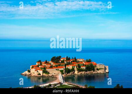 Sveti Stefan in the Adriatic Sea, Budva, Montenegro - Stock Photo