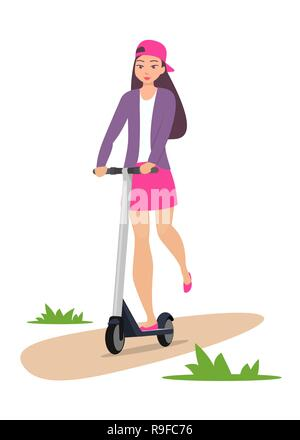 Cute girl riding kick scooter. Teen girl in short skirt, jacket and baseball cap rides on scooter. Young charming female character on kick scooter, ve - Stock Photo