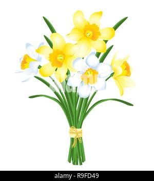 spring bouquet of yellow and white daffodils - Stock Photo