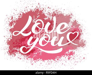 Love you lettering, calligraphic vector inscription on the background of watercolor stains - Stock Photo