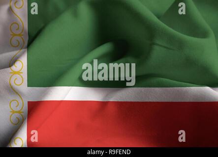 Closeup of Ruffled Chechen Republic Flag, Chechen Republic Flag Blowing in Wind - Stock Photo