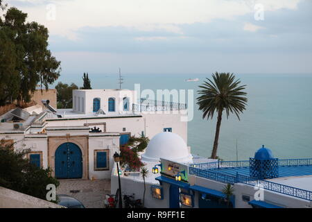 Cafe Sidi Chebaane at Sidi Bou Said overlooking bay. - Stock Photo