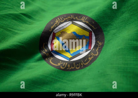 Closeup of Ruffled Gulf Cooperation Council Flag, GCC Flag Blowing in Wind - Stock Photo