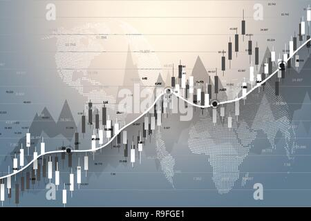 Stock market and exchange. Candle stick graph chart of stock market investment trading. Stock market data. Bullish point, Trend of graph. Vector illustration - Stock Photo