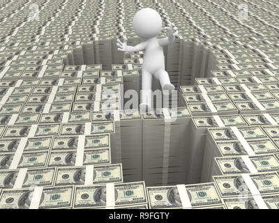 Dollar,question mark,a person standing a question mark on bundles of dollars - Stock Photo