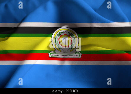 Closeup of Ruffled East African Community Flag, East African Community Flag Blowing in Wind - Stock Photo