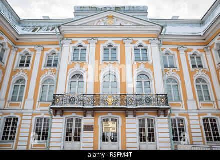SAINT PETERSBURG, RUSSIA - JANUARY 22, 2018: Peterhof in winter. Fragment of facade of the Grand Palace - Stock Photo