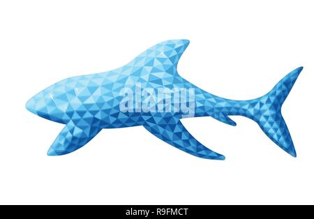 Vector design of shark in low poly style. Animal of australia. Blue color. Isolated on white background. Silhouette of an animal from polygons side. - Stock Photo