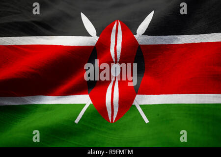 Closeup of Ruffled Kenya Flag, Kenya Flag Blowing in Wind - Stock Photo