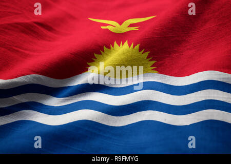 Closeup of Ruffled kiribati Flag, kiribati Flag Blowing in Wind - Stock Photo