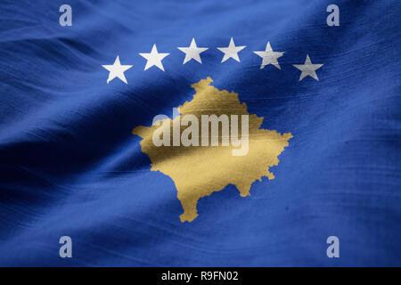 Closeup of Ruffled Kosovo Flag, Kosovo Flag Blowing in Wind - Stock Photo