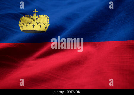Closeup of Ruffled Liechtenstein Flag, Liechtenstein Flag Blowing in Wind - Stock Photo