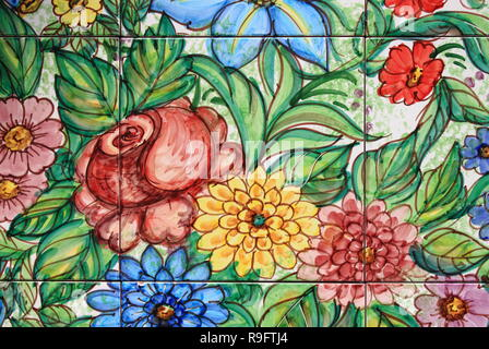 Traditional decorations in Vietri ceramic wall tiles - Stock Photo